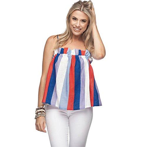 Ärmellos Plus Kostüm Größe - JYJM Frauen Plus Größe Streifen Pullover ärmellose Unregelmäßige Weste Tank Shirt Tops Bluse 2018 Frühling Sommer Gestreift Patchwork Oberteil Tops (M, Mehrfarbig)