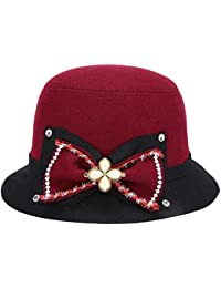Amayay Sombreros Sombrero Elegante De De Bell Sombrero Sombrero Fieltro Sombrero  Estilo Simple De Fieltro Señoras Campana De Fieltro… 3018ad0ca50
