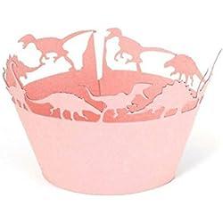 BESTOMZ Dinosaurio Cupcake Wrappers Casos de Tartas Muffin para Decoración Fiesta de Boda 50pcs