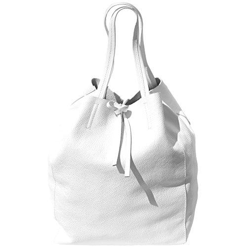 Realmente Venta SHOPPING BAG CON LACCETTO IN PELLE 9121 Bianco Venta Barata Confiable RGYpsCq4bi