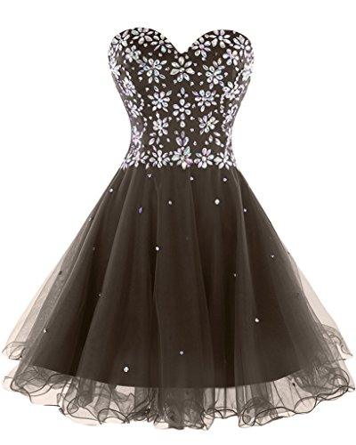 Sunvary Sweety 16 strass Mini vestito Tulle Homecoming 2016 Brown
