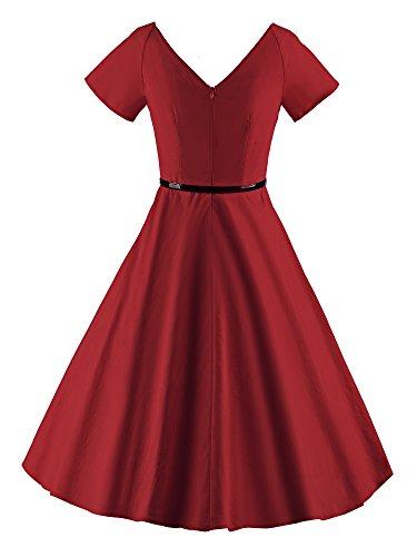 ILover Frauen 1950er V Ausschnitt Vintage Rockabilly Swing Abend Partei Kleid Wieinrot - 4