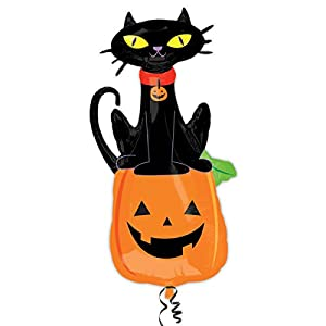 "Amscan International 3137101 ""Black Cat on Pumpkin Super Shape Globos de Papel de Aluminio"