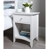 Edward Hopper white 1 drawer bedside, metal runners, dovetail joints, FULLY ASSEMBLED