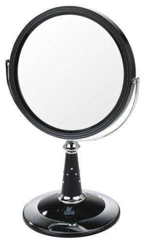 Danielle - Miroir sur pied avec finition UV et incrustations d'éléments Swarovski Argenté/Chrome - Image réelle avec agrandissement 7x - 29 cm x 17,5 cm