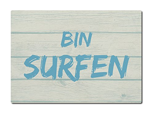 LUXECARDS POSTKARTE Holzpostkarte BIN SURFEN Grußkarte Surfer Naturholz