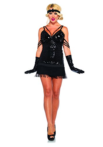 Leg Avenue 85216 - Glam Flapper Kostüm Set, 2-teilig, Größe S, schwarz (Kind Schwarz Pailletten Flapper Kostüme)