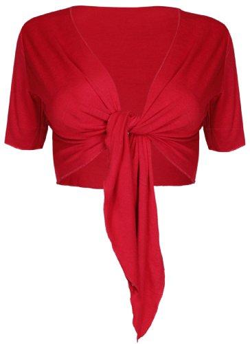 Da donna nuovo tinta unita anteriore regolabile cravatta da donna a maniche corte bolero top ritagliata cardigan Coprispalle Red