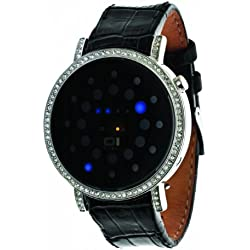 Thumbs Up! BINORS502B1 32Blue LED Unisex Wristwatch with Rhinestones and Steel Case