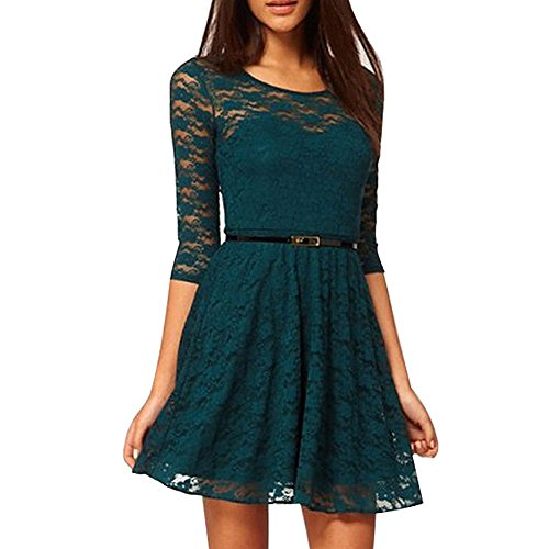 Pinkyee Damen Plissee Kleid Grün