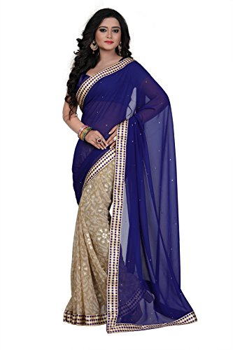 Janasya Women's Blue Printed Georgette Saree With Lace Border - JNE1848-SR-585BLUE  available at amazon for Rs.859