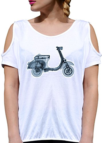 T SHIRT JODE GIRL GGG27 Z3523 SCOOTER VINTAGE LIFESTYLE 50S 60S ROAD FUN FASHION COOL BIANCA - WHITE