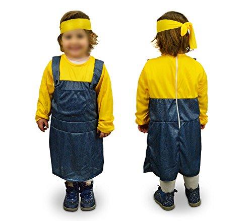 619366 Costume carnevale aiutante Giallo Blu Bambina da 6 a 8 anni. MEDIA WAVE store ®