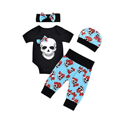 autyTop 4 Pcs Neugeborenen Jungen Mädchen Outfits Blumen Schädel Strampler Overall Hosen Kleidung Set (90/6-12 Monat, Schwarz) (Schädel-baby-kleidung)