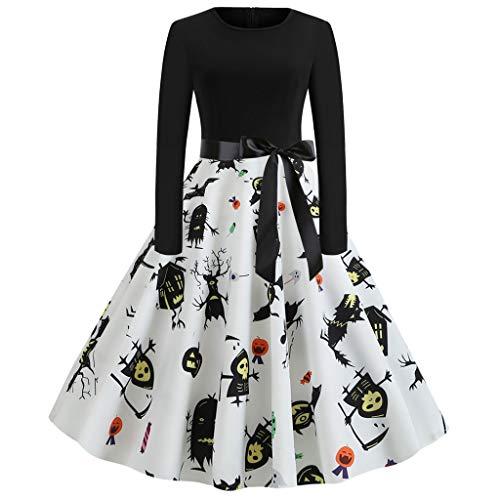 Kleid Damen Halloween Partykleid Hepburn Kleid Cocktailkleid Abendkleider Piebo Frauen Rockabilly Kleider Langarm Prom Swing Dress Pumpkins Kürbislicht Spinnennetz Tod Geist Festliche - Spinnennetz Fee Kostüm