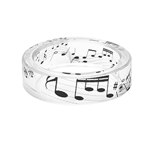 Women Men Music Symbols Fashion Resin Ring Transparent Handmade Comfort