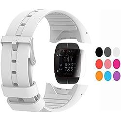 TUSITA Strap + protector de pantalla para Polar M400 / M430, reemplazo de silicona correa pulsera WristBand accesorio para Polar GPS Watch (BLANCO)