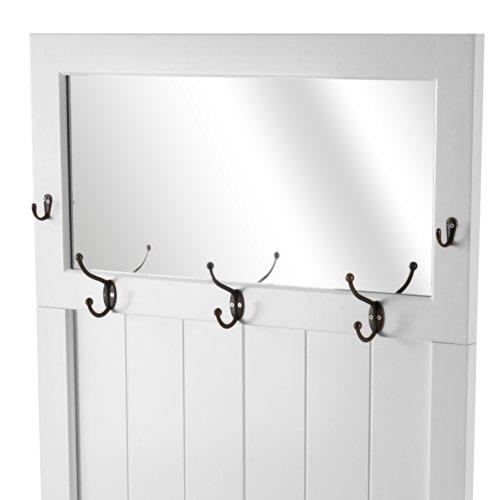 Miadomodo mobile ingresso appendiabiti attaccapanni ca 74 10 140 cm da muro con specchio e 5 ganci - Appendiabiti con specchio da parete ...