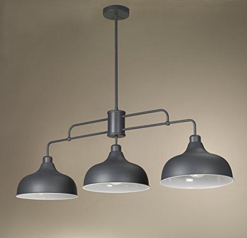 onli – Lustre trilancere Oslo en métal mat laqué gris avec abat-jours à cloche. Style moderne, design industriel. 3 x E27. Ameublement séjour, cuisine, salle à manger. Design fabriqué en italie