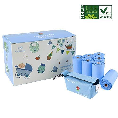 Mama Easy Windelbeutel, biologisch abbaubar und kompostierbar, 120 Stück, mit blauer Tasche, 100% Entsorgung, Blau -
