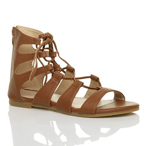 Femmes plat enrouler autour à lanières gladiateur des sandales pointure Brun roux mat