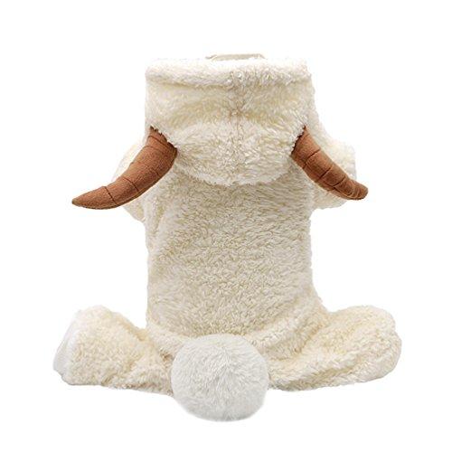LvRao Hund Flanell Hoodies Weihnachten Kostüm Winter Warm Welpe Haustier Kleidung Tier Geformt Overall (Schaf, (Für Schaf Hund Kostüm)