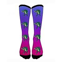 HTETRERW Compression Socks T Rex Fierce Dinosaur Crew Sock Crazy Socks Tube High Socks Personalized Novelty Funny Sports High Stockings for Teen Boys Girls