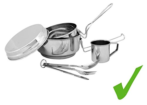 Practical Stainless Steel Camping Cup and Cutlery Set Outdoor Cookware Accessories 7-Piece Pot Casserole