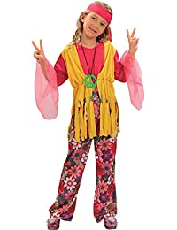 CESTRIAN Kids Girls Hippy Flower Power 1960S 1970S 60S 70S Disco Hippie Fancy Dress Medium 7-9 Years