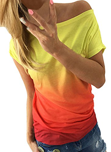 Sommer Deman Farbe Gradient Mode Persönlichkeit Drucken T-Shirt Kurzarm Tops Sportshirt Oberteile Sweatshirt (EU38-L, Orange) (Seide Pullover Satin)