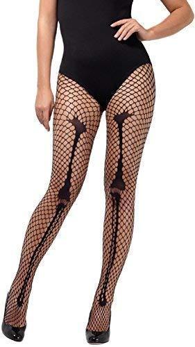 Damen Sexy Schwarz Skelett Fischnetz Netz Knochen Halloween Horror Kostüm Verkleidung Zubehör Strumpfhose