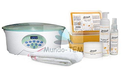 Mundo-TEM ® appareil fundidor de paraffine numérique, 1 kit complet : 3 kg de Paraffine + cosmeticos et couvercle, tout en un, Cadeau : Kit de manucure. Parafina de Chocolate