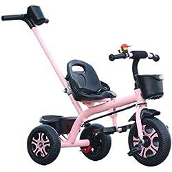 King Boutiques Poussette Pliante Tricycle à Trois Roues pour Enfants avec Poussoir et Poussette pour bébé Système De Voyage (Color : Pink)