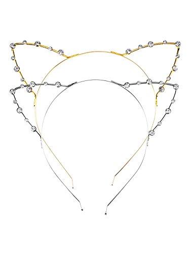 Mudder Kristall Strass Metall Katze Ohr Stirnband Haarreif, 2 Stück, Golden und (Kostüme Tanzabend Zu)