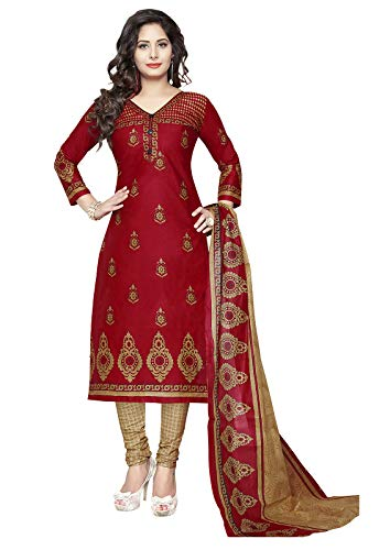 Ishin Women\'s Cotton Red & Beige Printed Unstitched Salwar Suit Dress Material With Dupatta