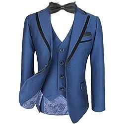 Niño Italian 3 PIEZAS Tonic Azul Paje Traje Con Negro Brillante Caño , Elegant Boda , Cena , Graduación traje - sintético, Tonic Azul, 70% poliéster 30% viscosa, De Niño, 16 years