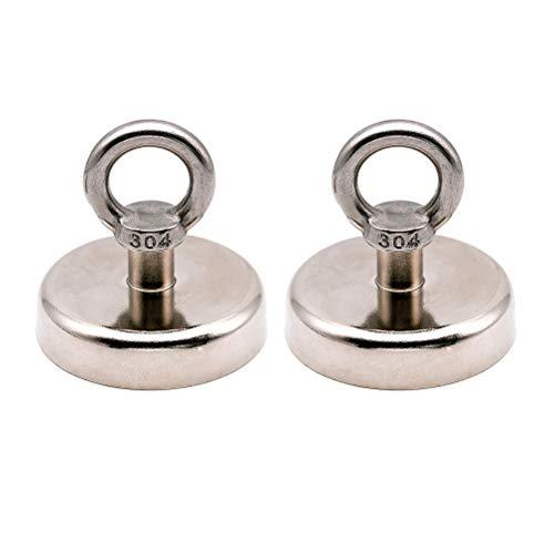 BESPORTBLE Magnete Ziehen Montage D60mm Starke Leistungsstarke Neodym Magnetic Pot mit Ring Fanggeräte Tiefsee Bergungsausrüstung (130 KG)