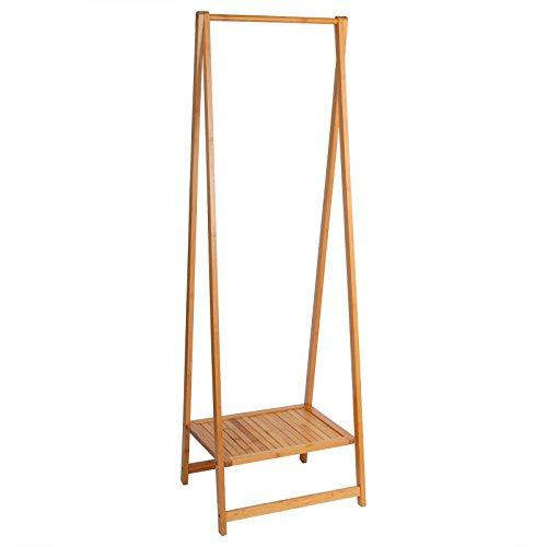 WOLTU SR0034 Kleiderständer Garderobenständer aus Bambus , Wäscheständer Ständer mit 1 Ablagefläche als Schuhablage , 50 x 42 x 158cm , natur
