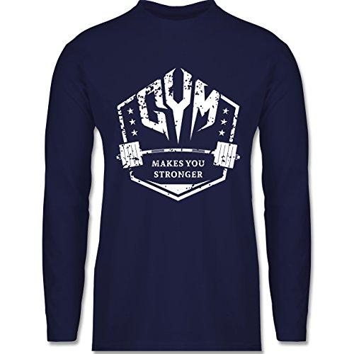 Shirtracer CrossFit & Workout - Makes You Stronger - Herren Langarmshirt Navy Blau