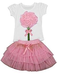 Niña Flor Corto Manga Camisetas y Falda(1 Conjuntos)