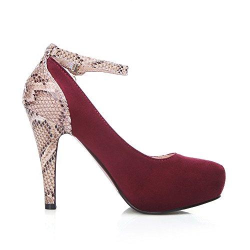 AllhqFashion Damen Schnalle Rund Zehe Stiletto Mattglasbirne Gemischte Farbe Pumps Schuhe Rot