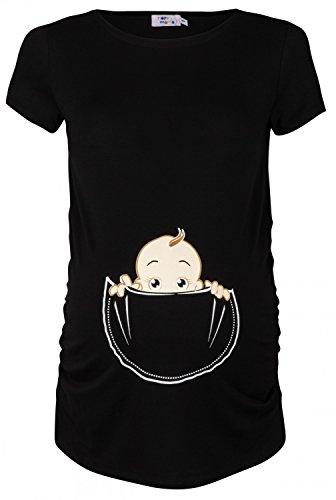 Happy Mama. Damen Baby in der Tasche T-Shirt Top Oberteil für Schwangere. 501p (Schwarz, EU 38/40, M) -