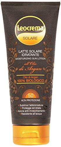 Leocrema - Latte Solare Idratante, All'Olio di Argan Biologico Protezione Alta 50+ - 200 ml