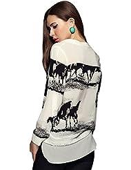Malloom® Mujeres camiseta de manga larga Casual Negro Caballo Camisa Blanca gasa remata la blusa