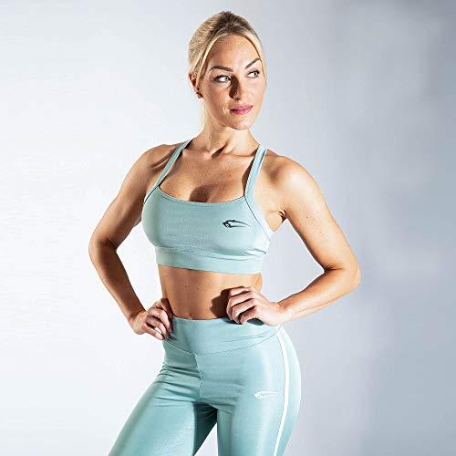 SMILODOX Sport Bra Cross | Fitness-BH ohne Bügel | Starker Halt im Training | Bustier für Pilates Yoga Gym Fitness | Soft Büstenhalter, Farbe:Grün, Größe:L - 2