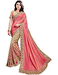 Arohi Designer Silk & Georgette & Net Embroidered Saree With Blouse Piece (Pink And Beige-Free Size)