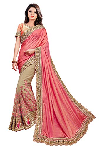 Arohi Designer Women\'s Silk & Georgette Net Embroidered Saree with Blouse Piece (Pink and Beige, Free Size)