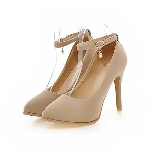 VogueZone009 Damen Nubukleder Rein Schnalle Spitz Zehe Stiletto Pumps Schuhe Cremefarben