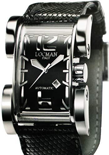 Locman Latin Lover/orologio donna/quadrante nero/cassa acciaio e titanio/cinturino struzzo nero/ref. 050100AG0005STK