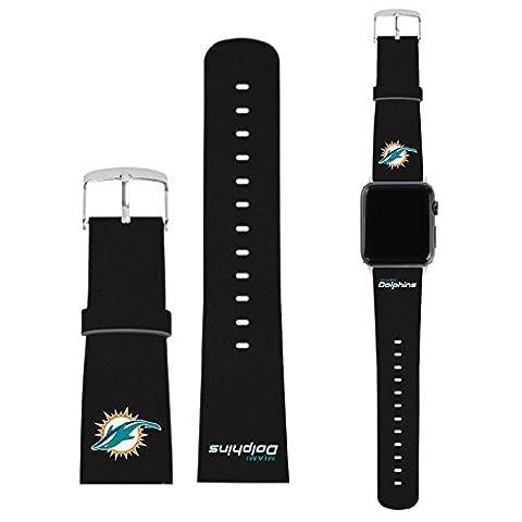Officiel NFL Plaine Miami Dolphins Logo Bracelet De Cuir à Boucle Synthétique Noir pour 42mm Strap & Silver Adapter Kit
